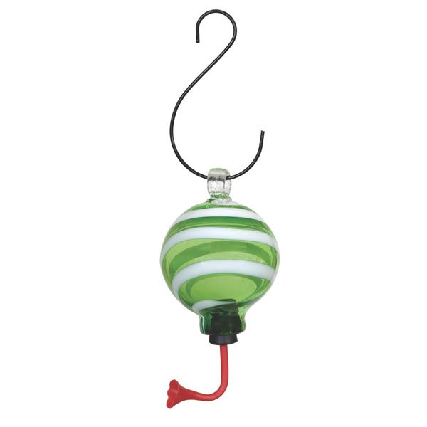 Blown Glass Hummingbird Feeders / Color (Sphere / Green and White) Best Price