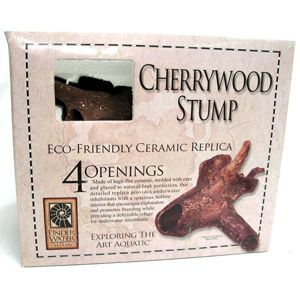 Cherry Wood Stump Aquarium Ornament - 4 openings Best Price