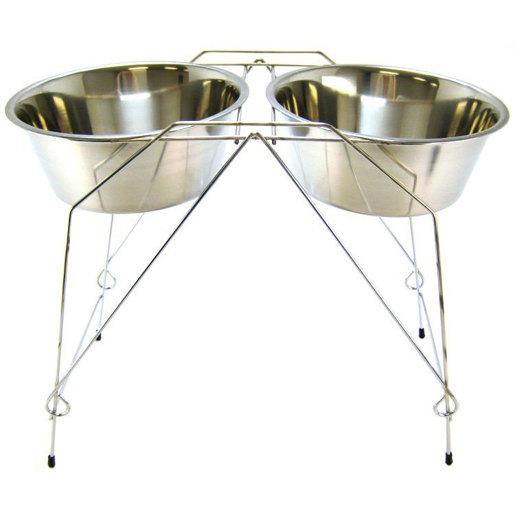Stainless Steel Elevated Pet Double Diner / Size (5 qt  18 in) Best Price