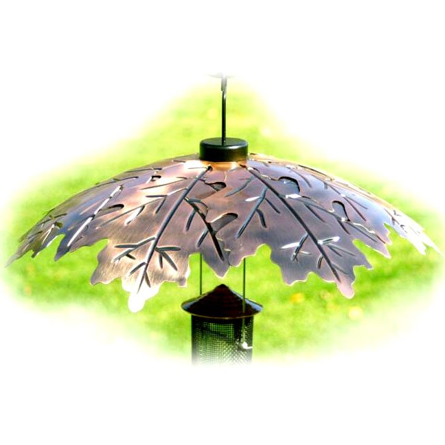 Brushed Copper Bird Feeder Weather Shield 18 Inch.