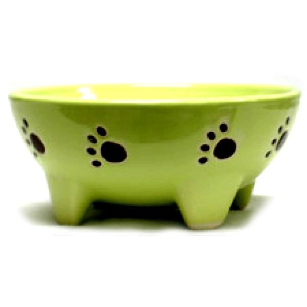 Footed Ceramic Pet Dish / Size (5 in Green / Dog) Best Price