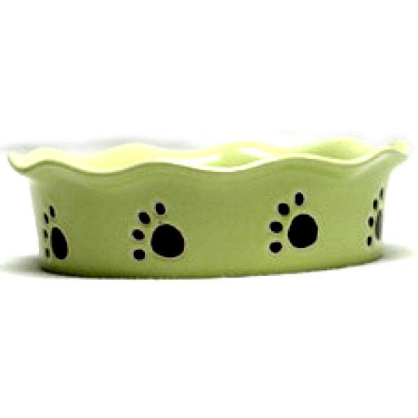 Ruffled Stoneware Cat Dish 5 inches / Color (Green) Best Price