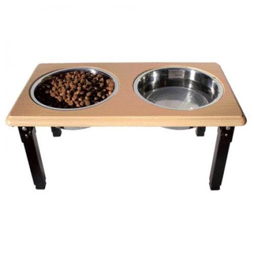 Posture Pro Adjustable Pet Double Diner / Size 2 Quart / Oak
