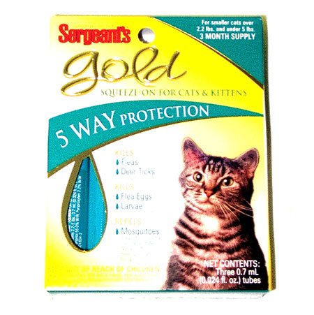 Gold Squeeze-on Flea and Tick for Cats Under 5 Lbs