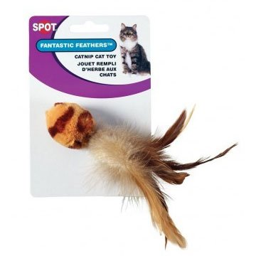 Tiger Stripe Ball with Feathers Cat Toy Best Price