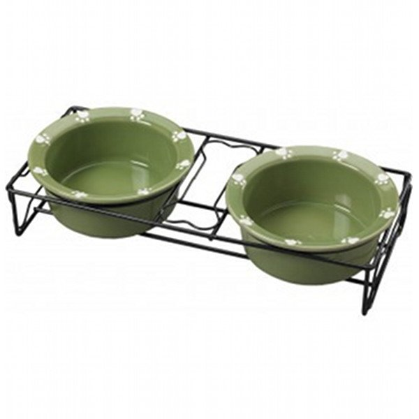 Charming Pet Double Diner - 6 in. Dishes / Green Best Price