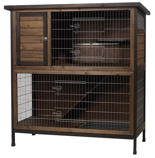 Wood / Outdoor 2-Story Rabbit Hutch - 48 in.