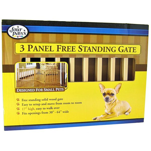 Free Standing Walk Over Wood Pet Gate / Size (3 Panel) Best Price