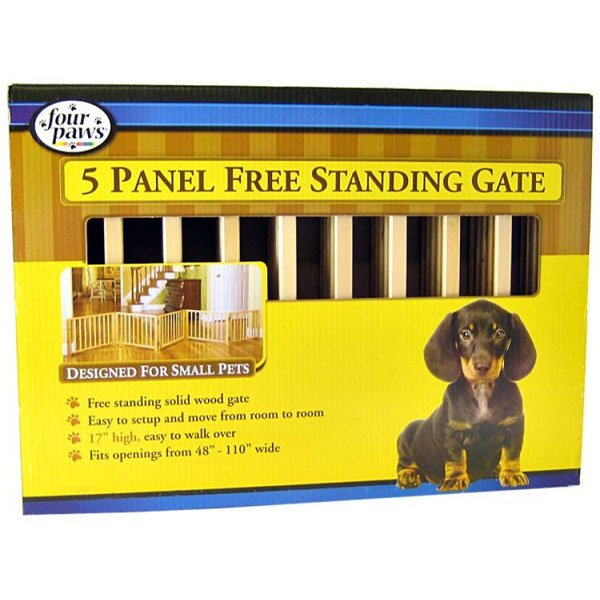 Free Standing Walk Over Wood Pet Gate / Size (5 panel) Best Price
