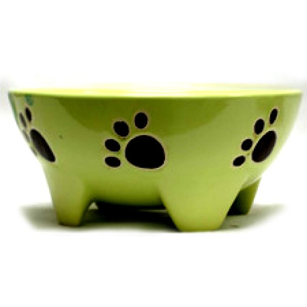 Footed Ceramic Pet Dish / Size (7 in Green / Dog) Best Price