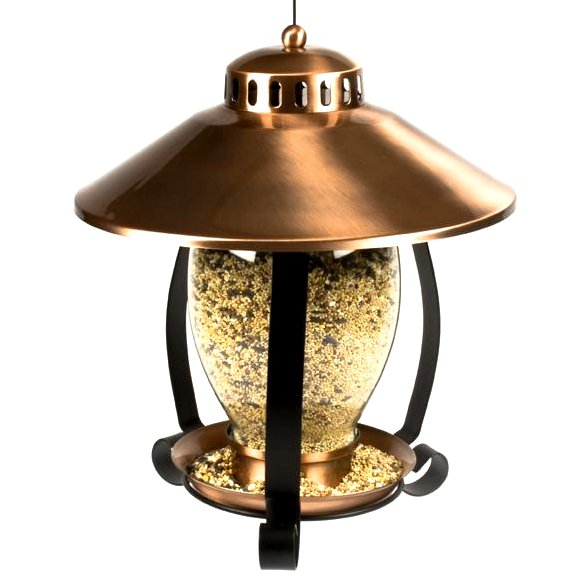Brushed Copper Lantern Birdfeeder 11 In. Diameter