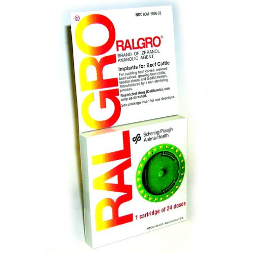 Ralgro Cartridge for Cattle 24 dose (Case of 10) Best Price