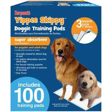 Yippee Skippy Doggie Training Pads 100 Ct Dog Products
