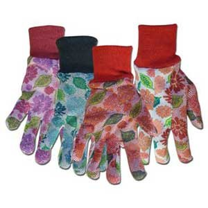 Floral PVC Dotted Jersey Ladies Gloves (Case of 12) Best Price