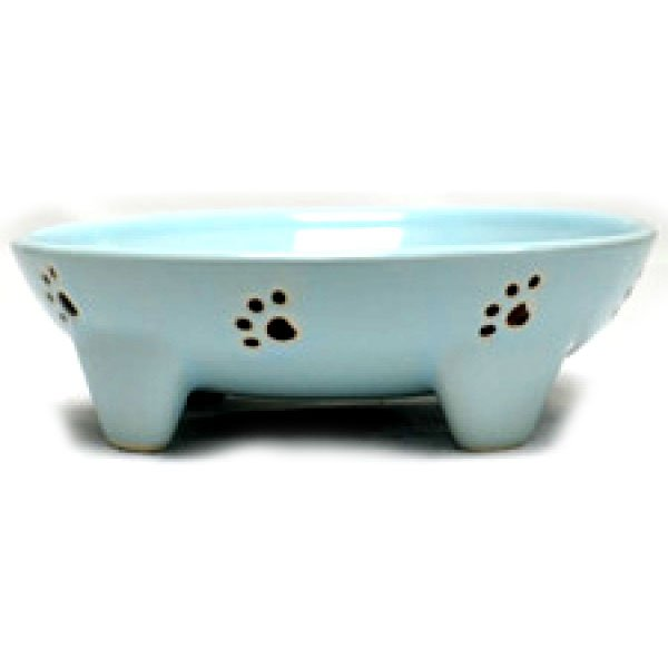 Footed Ceramic Pet Dish / Size (5 in Blue / Cat) Best Price