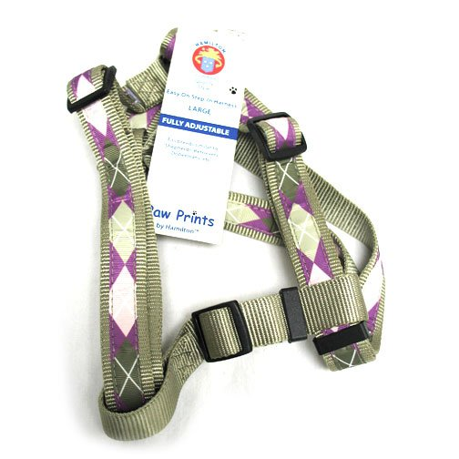 Adj. Easy On Dog Harness / Size (Argyle Sage 1 x 30-40 in.)