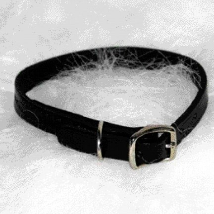 Black Creased Leather Dog Collar / Size 16 In.