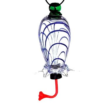 Blown Glass Cylinder Hummingbird Feeders / Color (Blue Swirl)
