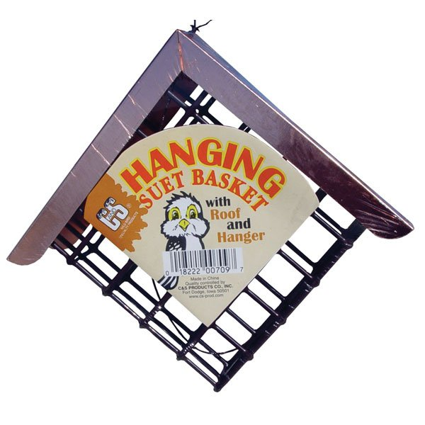 Hanging Suet Basket With Copper Roof