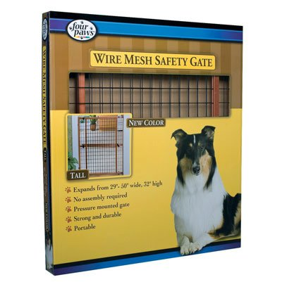 Dark Wood Wire Mesh Expandable Pet Gate Dog Products