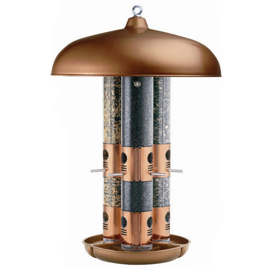 Triple Tube Copper Bird Feeder