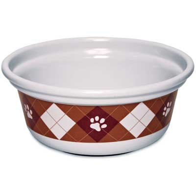 Petmate Designer Argyle Paws Dog Bowl - 8 CUP Best Price