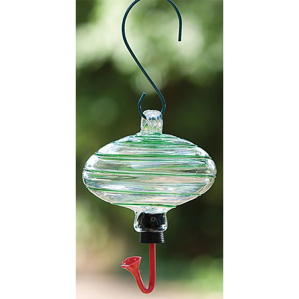 Blown Glass Hummingbird Feeders / Color (Oval / Green and White)
