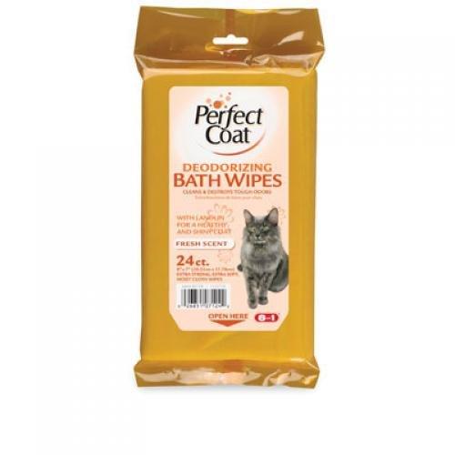 Perfect Coat Cat Bath Wipes 24 Pk