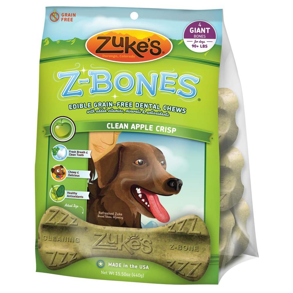 Z-bones Dental Chews - Giant / Green Apple Crisp 4 pk. Best Price