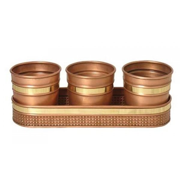 3 Decorative Copper Planters With Watering Tray Best Price