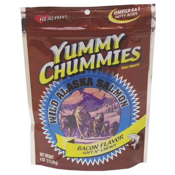 Yummy Chummies Salmon Dog Treat Bacon Soft N Chewy 4 Oz.