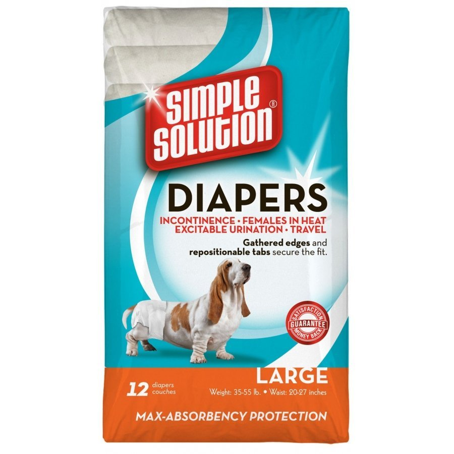 Simple Solution Disposable Dog Diapers 12 Pack / Size Large