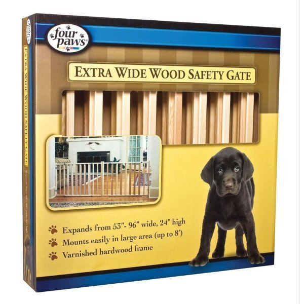 Extra Wide Wood Slat Pet Gate - 53-96 Inch Best Price