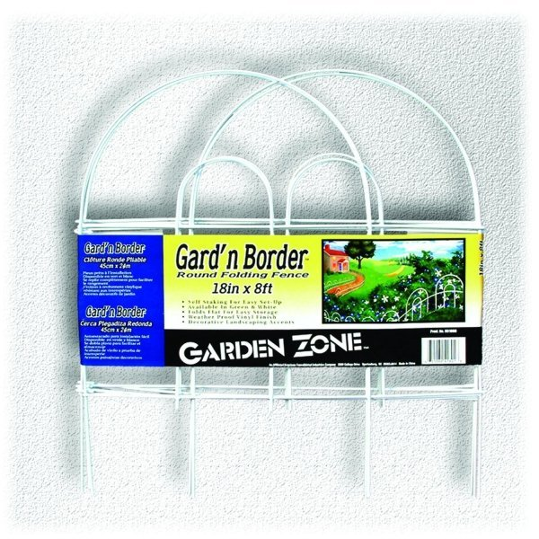 Round Folding Fence Border 18 in. x 8 ft. / Color (White) Best Price