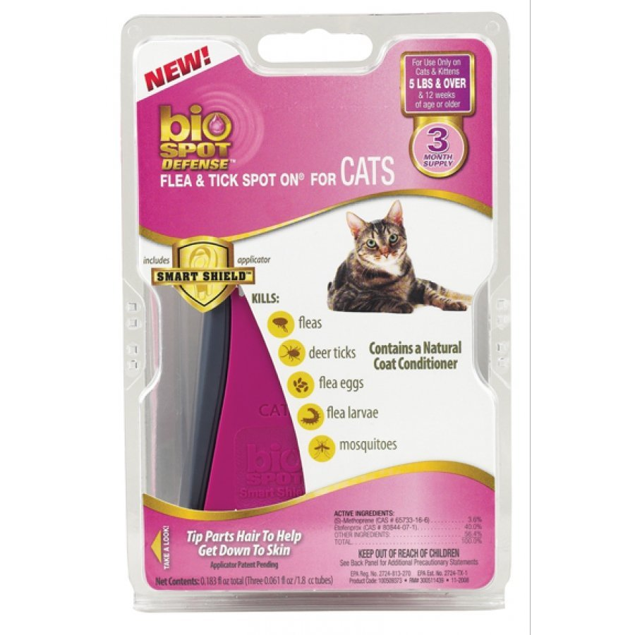 Bio Spot Defense Flea Tick Spot On For Cats / Size Over 5 Lbs / 3 Mo.