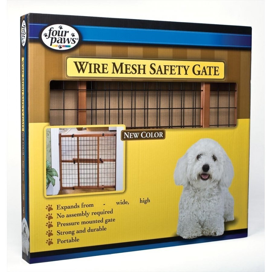 Dark Wood Wire Mesh Expandable Pet Gate / Height 32 In.