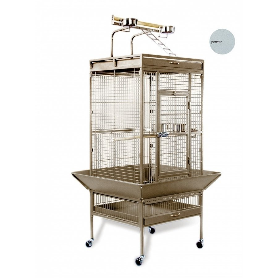 Bird Cage For Tiels / Parrots 24x20x60 In. / Color Speckled Pewter