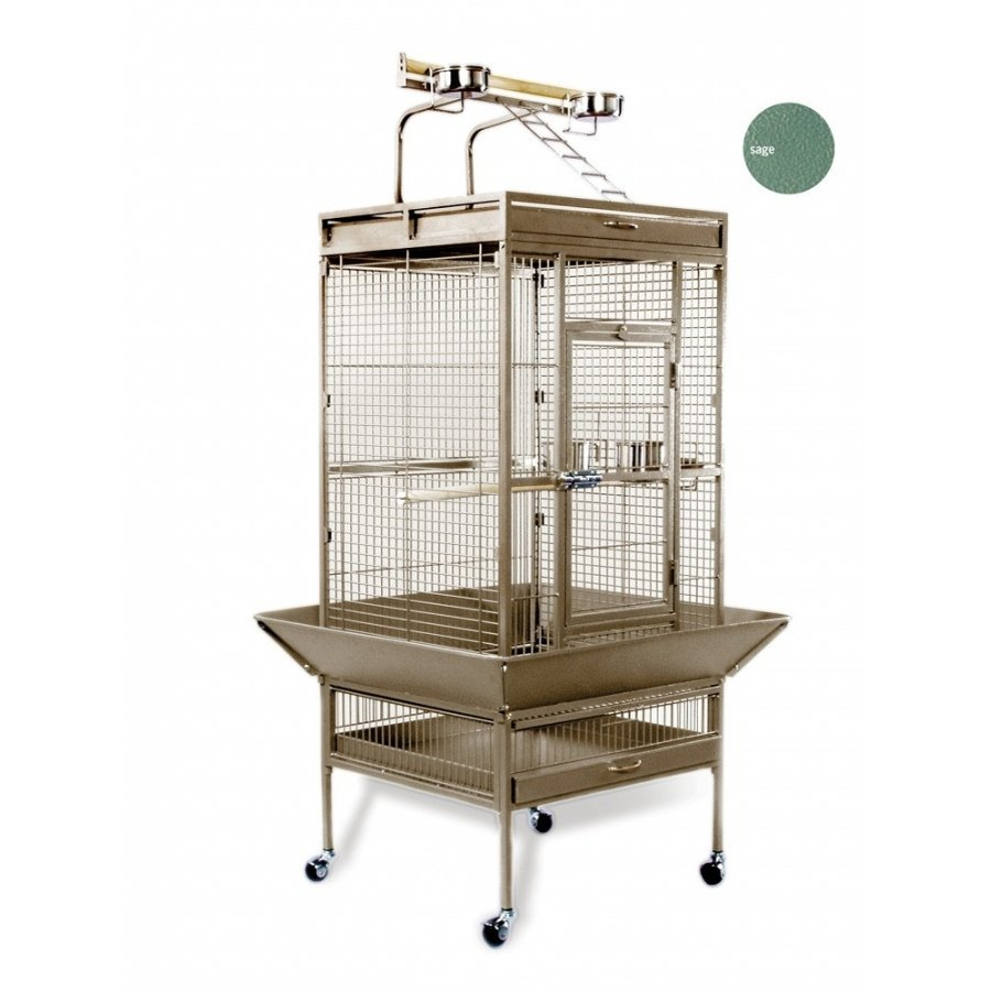 Bird Cage For Tiels / Parrots 24x20x60 In. / Color Speckled Sage