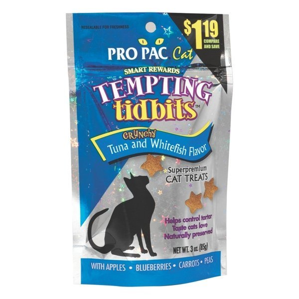 Tempting Tidbits Tuna And Whitefish Superpremium Cat Treats 3 Oz.