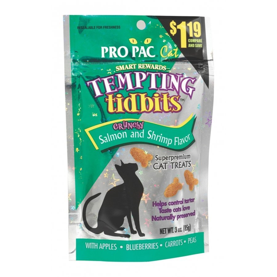 Cat Tempting Tidbits Crunchy Salmon And Shrimp Flavor 3 Oz.
