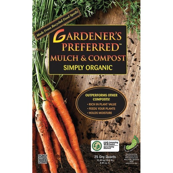 Gardeners Preferred 100% Organic Mulch and Compost - 25 DRY qt. Best Price