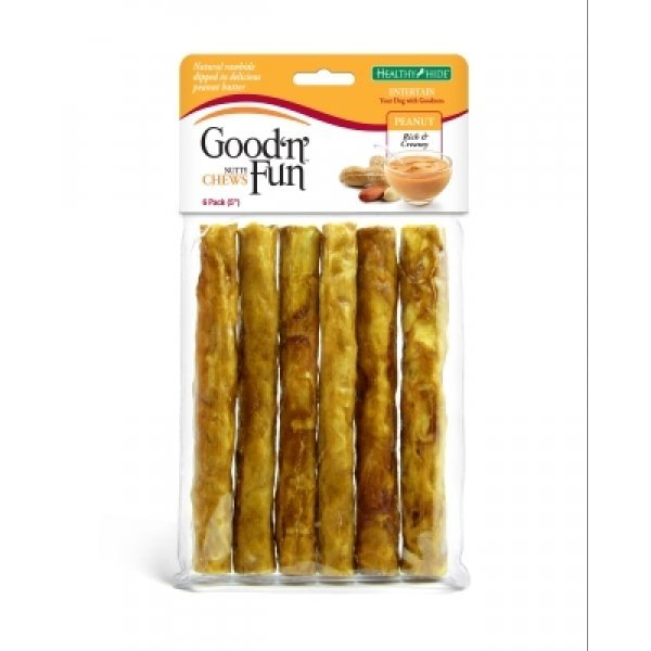 Good N Fun Nutty Peanut Butter Chews - 5 in./6 pk. Dog ...
