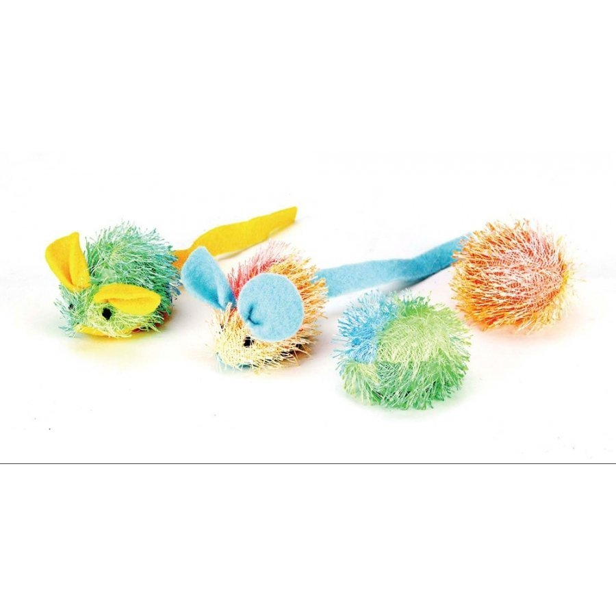 Stringy Mice And Ball With Catnip Cat Toy 4 Pk.