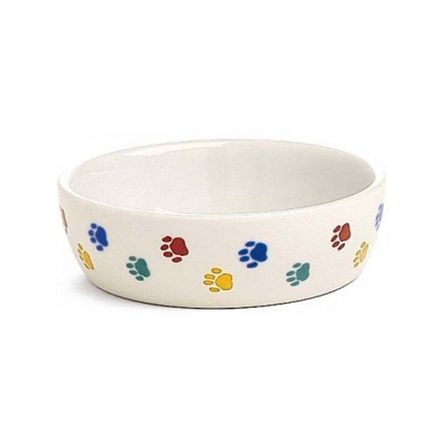 Ceramic Cat Dish Pawprint 5.25 In
