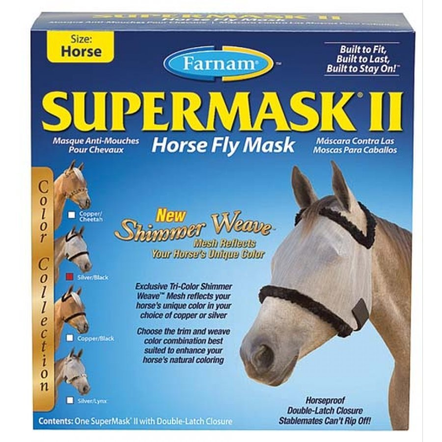 Supermask 2 Fly Mask / Size (Horse w/o Ears Silver/Black) Best Price
