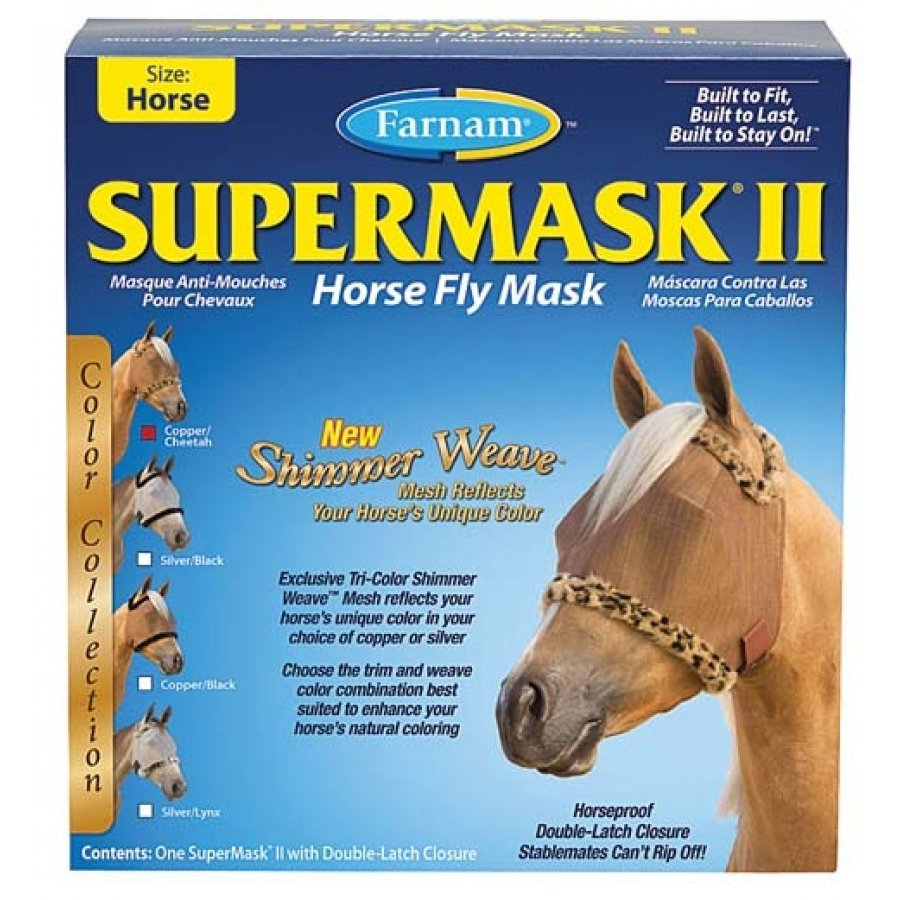 Supermask 2 Fly Mask / Size (Horse w/o Ears Copper/Cheetah) Best Price