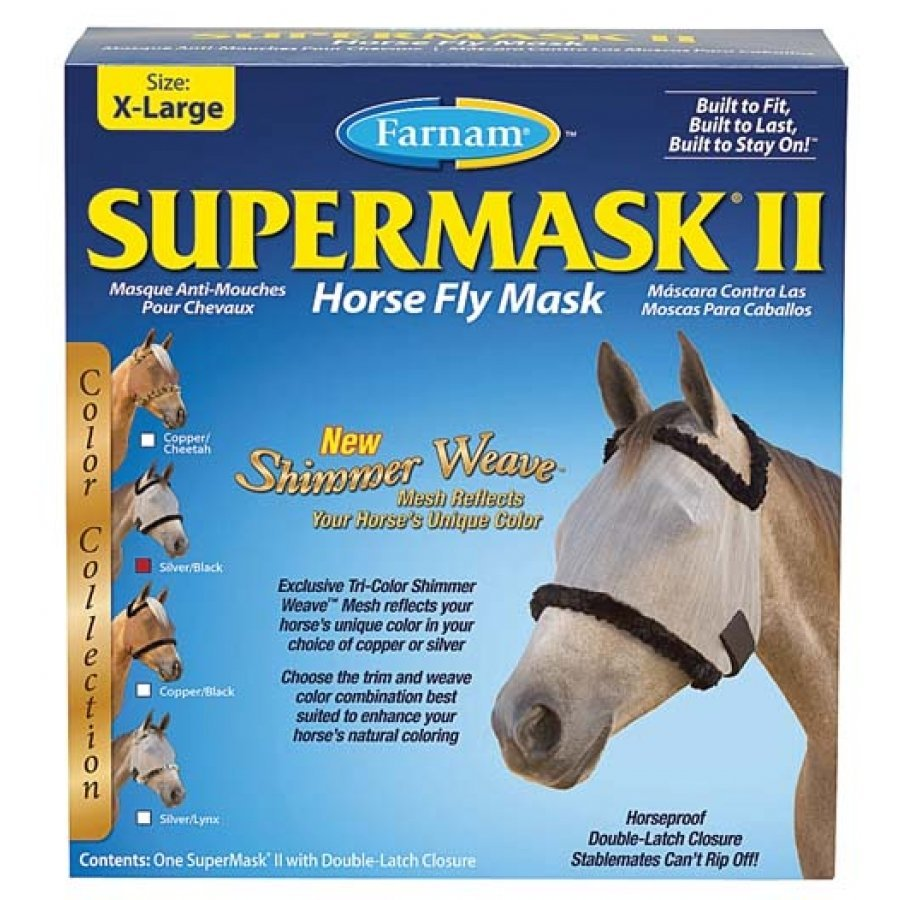 Supermask 2 Fly Mask / Size (XL Horse w/o Ears Silver/Black) Best Price