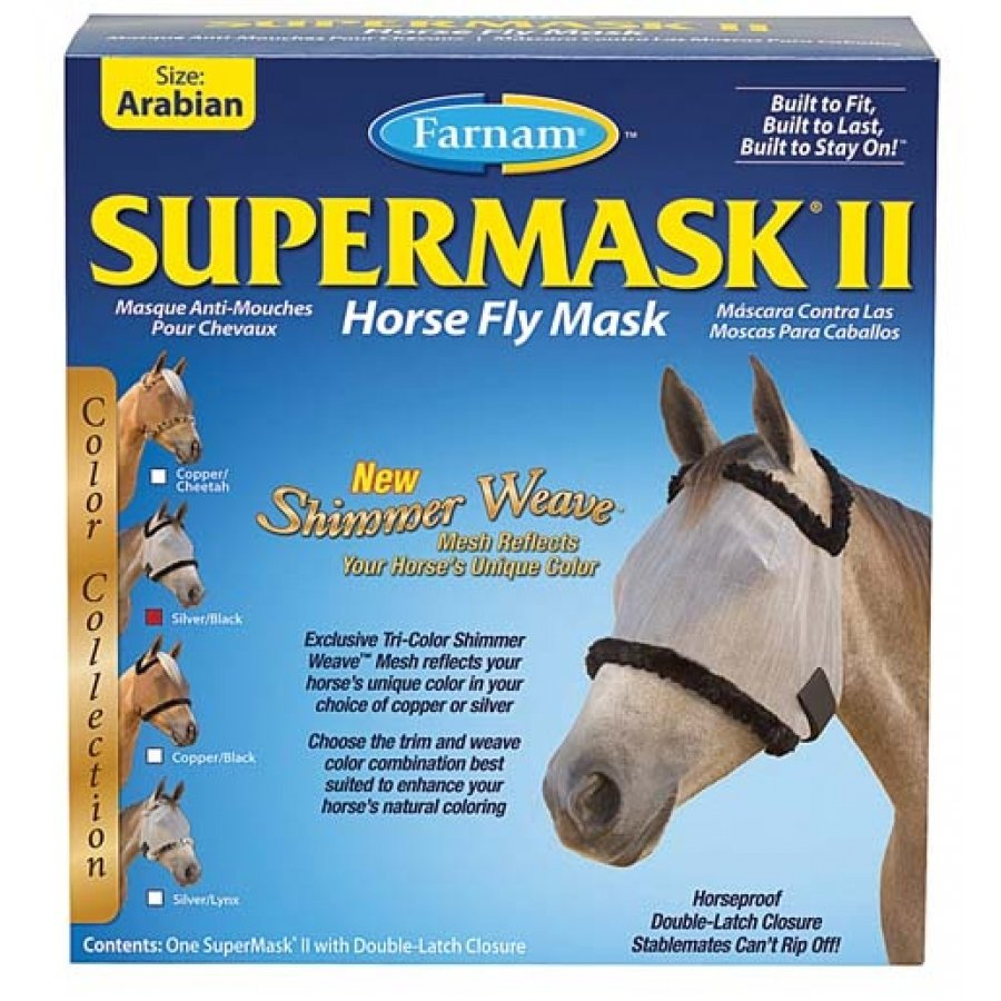 Supermask 2 Fly Mask / Size (Arabian w/o Ears Silver/Black) Best Price