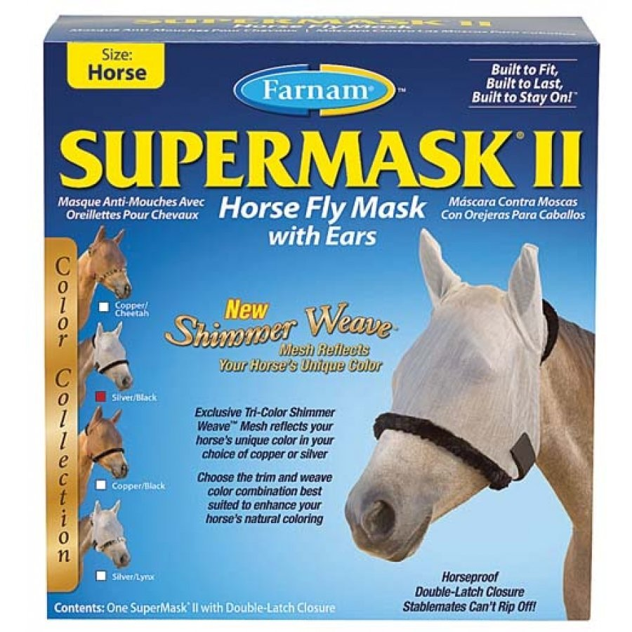 Supermask 2 Fly Mask / Size (Horse w/Ears Silver/Black) Best Price