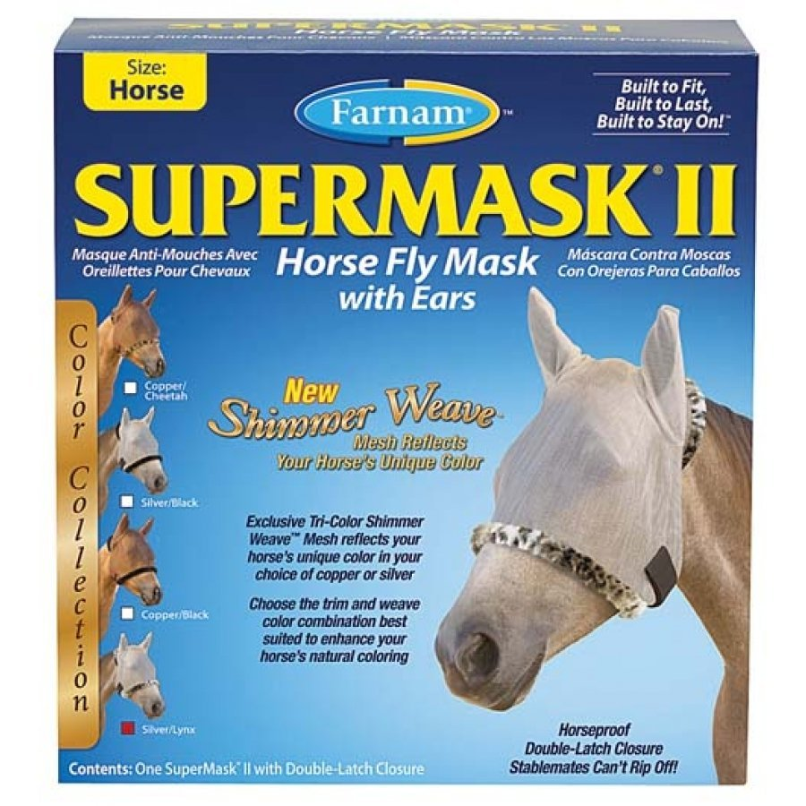 Supermask 2 Fly Mask / Size (Horse w/Ears Silver/Lynx) Best Price